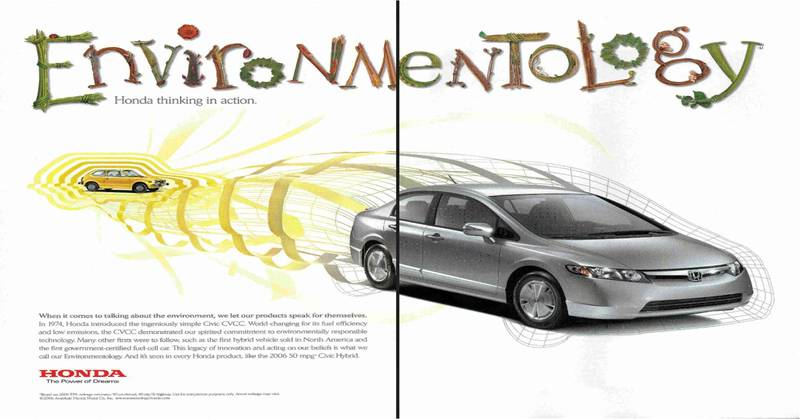 Honda Civic Hybrid Adver In July 2006 National Geographic Magazine